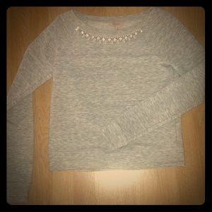 Grey Marled Sweater w/Rhinstone and Pearl Neckline